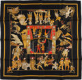 "Luxury Accessories:Accessories, Hermes Black, Gold and Red ""Temps De Marionettes,"" by Annie FaivreSilk Scarf. ..."