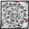 "Luxury Accessories:Accessories, Hermes Black, White, and Red ""Jeu De Omnibus,"" by Hugo Grygkar SilkTwill Scarf. ..."