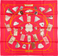 "Luxury Accessories:Accessories, Hermes Pink and Orange ""Carnets De Bal,"" by Caty Latham Silk Scarf...."