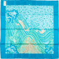 "Luxury Accessories:Accessories, Hermes Teal and Green ""A Contre Courant,"" by Isabelle Barthel SilkScarf. ..."