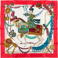 """Luxury Accessories:Accessories, Hermes Red and White """"Timbalier,"""" by Francoise Heron Silk Scarf...."""