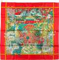 """Luxury Accessories:Accessories, Hermes Red, Orange, and Green """"Jardins D'hiver,"""" by Annie FaivreSilk Scarf. ..."""