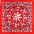 "Luxury Accessories:Accessories, Hermes Red, White, and Purple ""Fleurs D'hiver,"" by Sandra LarocheSilk Scarf. ..."