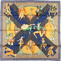 """Luxury Accessories:Accessories, Hermes Blue, Silver, and Yellow """"Ballets Russe,"""" by Annie FaivreSilk Scarf. ..."""