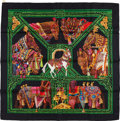"Luxury Accessories:Accessories, Hermes Black, Green, and Gold ""Danse Du Cheval Marwari,"" by AnnieFaivre Silk Scarf. ..."