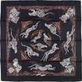 """Luxury Accessories:Accessories, Hermes Black, White, and Gray """"Guepards,"""" by Robert Dallet SilkScarf. ..."""