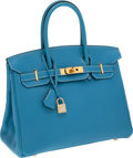Luxury Accessories:Bags, Hermes 30cm Blue Jean Togo Leather Birkin Bag with Gold Hardware....