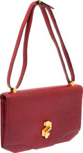 Luxury Accessories:Bags, Hermes Vintage Rouge H Lizard Shoulder Bag with Gold Hardware. ...