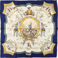 "Luxury Accessories:Accessories, Hermes Navy, White, and Yellow ""Petite Venerie,"" by Charles HalloSilk Scarf. ..."