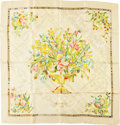 """Luxury Accessories:Accessories, Hermes Cream, Yellow, and Green """"Flora Marqueterie,"""" by FrancoiseHeron Silk Scarf. ..."""
