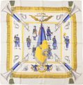 "Luxury Accessories:Accessories, Hermes White, Blue, and Gold ""Gloire De Chasseurs,"" by Hugo GrygkarSilk Scarf . ..."