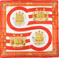 "Luxury Accessories:Accessories, Hermes White, Red, and Gold ""Chateau D'arriere,"" by Julie AbadieSilk Scarf . ..."