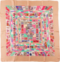 "Luxury Accessories:Accessories, Hermes Peach, Teal, and Red ""Correspondance,"" by Caty Latham SilkScarf . ..."