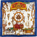 "Luxury Accessories:Accessories, Hermes Blue, White, and Gold ""Musee,"" by Philippe Ledoux Silk Scarf. ..."