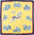 """Luxury Accessories:Accessories, Hermes Yellow and Blue """"Carrousel,"""" by Christiane Vauzelles SilkScarf . ..."""