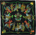 "Luxury Accessories:Accessories, Hermes Black, Gold, and Green Jacquard ""Fetes Du Roy Soleil,"" byMichel Duchene Silk Scarf. ..."