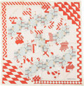 "Luxury Accessories:Accessories, Hermes Red and White ""Chantilly,"" by Henri D'origny Silk Scarf ...."