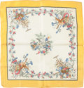 "Luxury Accessories:Accessories, Hermes Yellow and White ""Pastorale,"" by Hugo Grygkar Silk Scarf ...."