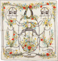 """Luxury Accessories:Accessories, Hermes White, Gray, and Red """"Herbes Folles,"""" by Lise Coutin Silk Scarf . ..."""