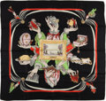 """Luxury Accessories:Accessories, Hermes Black, Red, and Green """"Plaisir de France,"""" by Hugo Gryghar Silk Scarf . ..."""