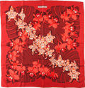 "Luxury Accessories:Accessories, Hermes Red and Dark Red ""Dessins D'Orchidee,"" by VladimirRybaltchenko Silk Scarf . ..."