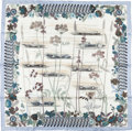 "Luxury Accessories:Accessories, Hermes White and Light Blue ""Bolide"" by Rena Dumas Silk Scarf. ..."