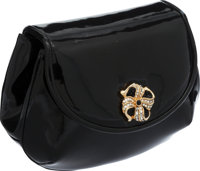 Judith Leiber Black Patent Leather Mini Flap Bag with Flower Crystal