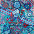 Luxury Accessories:Accessories, Hermes Blue, Teal and Fuchsia 'L'Ivresse de L'Infini' by ZoéPauwels Silk Scarf. ...