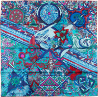 Hermes Blue, Teal and Fuchsia 'L'Ivresse de L'Infini' by Zoé Pauwels Silk Scarf