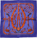 Luxury Accessories:Accessories, Hermes Purple and Orange 'Gauche par Hermes Paris' by Caty LathamSilk Scarf. ...