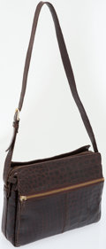 Luxury Accessories:Bags, Mauro Governa Brown Crocodile Shoulder Bag. ...