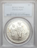 Modern Issues: , 1995-D $1 Olympic/Paralympics Silver Dollar MS69 PCGS. PCGSPopulation (1427/241). NGC Census: (875/338). Numismedia Wsl. ...