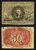 Fractional Currency:Second Issue, Soaked Pair Fr. 1321 50¢ Second Issue.. ... (Total: 2 notes)
