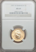 Modern Issues: , 1997-W G$5 Jackie Robinson Gold Five Dollar MS69 NGC. NGC Census:(540/245). PCGS Population (927/52). Mintage: 5,202. Numi...
