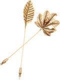 Luxury Accessories:Accessories, Set of Two; Isabel Canovas Gold Leaf Long Pins. ... (Total: 2Items)