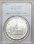 Modern Issues: , 1996-D $1 Smithsonian Silver Dollar MS68 PCGS. PCGS Population(30/1248). NGC Census: (3/922). Mintage: 31,320. Numismedia ...