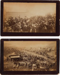 "Photography:Cabinet Photos, Two Guthrie, Oklahoma Land Run Albumen Photographs: ""Race Track West Guthrie"" and ""Everyday Scene in Guthrie, Ok.""... (Total: 2 Items)"