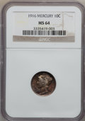Mercury Dimes: , 1916 10C MS64 NGC. NGC Census: (90/121). PCGS Population (99/83).Mintage: 22,180,080. Numismedia Wsl. Price for problem fr...