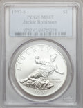 Modern Issues: , 1997-S $1 Jackie Robinson Silver Dollar MS67 PCGS. PCGS Population(29/1564). NGC Census: (2/969). Mintage: 30,007. Numisme...