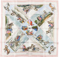 "Luxury Accessories:Accessories, Hermes Pink and White ""Voyages Slaves,"" by Loic Dubigeon Silk Scarf. ..."