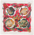 """Luxury Accessories:Accessories, Hermes Red, White, and Green """"Grands Fonds,"""" by Annie Faivre Silk Scarf. ..."""