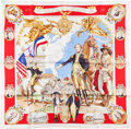"Luxury Accessories:Accessories, Hermes Limited Edition Red, White, and Gold ""Marquis De Lafayette,""by Kermit Oliver Silk Scarf. ..."