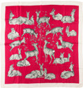 "Luxury Accessories:Accessories, Hermes Red and White ""Biches,"" by Xavier De Poret Silk Scarf . ..."