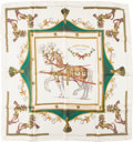 "Luxury Accessories:Accessories, Hermes White, Green, and Gold ""Harnais Francais,"" by Hugo GrygkarSilk Scarf . ..."