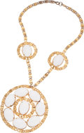 Luxury Accessories:Accessories, Kenneth Jay Lane Gold S Chain and White Cabochon Necklace. ...