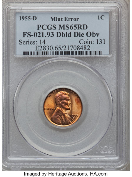 1955-D 1C Lincoln Cent-- Double Die Obverse --MS65 Red PCGS  | Lot