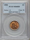 Lincoln Cents: , 1930 1C MS66 Red PCGS. PCGS Population (971/78). NGC Census:(2262/512). Mintage: 157,415,008. Numismedia Wsl. Price for pr...