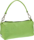 Luxury Accessories:Bags, Prada Green Silk Pochette Clutch with Handle. ...