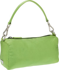 Prada Green Silk Pochette Clutch with Handle