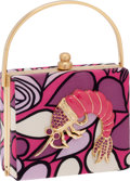 Luxury Accessories:Bags, Moo Roo by Mary Norton Silk Graphic Print Evening Bag with CrystalShrimp. ...